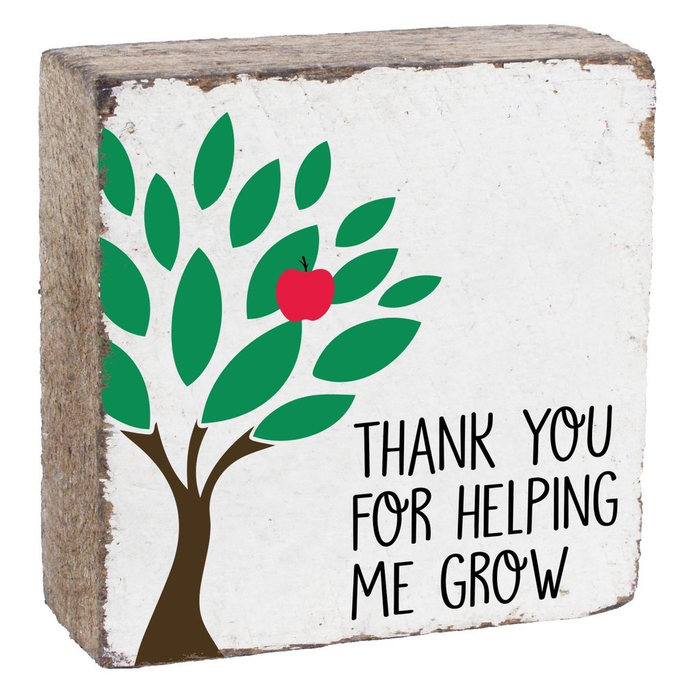 Rustic Square Block- Thank You For Helping Me Grow