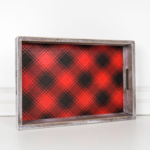PERSONALIZED WOOD FRAMED TRAY - PLAID, RED & BLACK