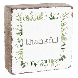 SQUARE RUSTIC BLOCK - THANKFUL