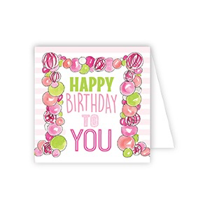 ENCLOSURE CARD - HAPPY BIRTHDAY TO YOU PINK BALLOONS