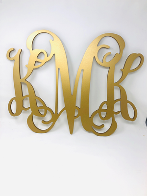 "18"" Large Wooden Monogram Vine Font with Bow"