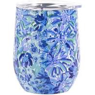 LILLY PULITZER STAINLESS STEEL WINE TUMBLER WITH LID, HIGH MANETENANCE