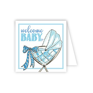 ENCLOSURE CARD - WELCOME BABY BLUE BUGGY