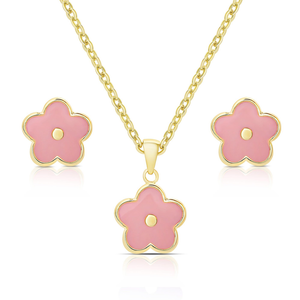 FLOWER STUD EARRINGS & NECKLACE SET - PINK