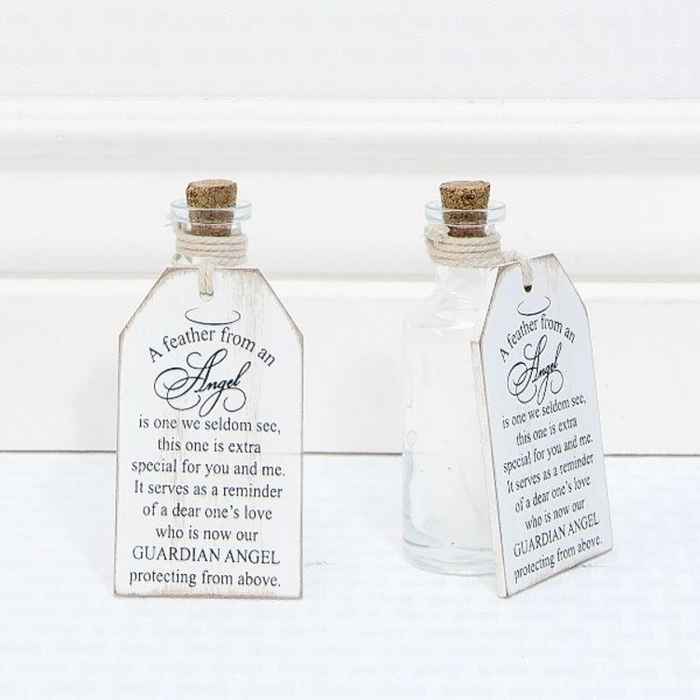 A FEATHER FROM AN ANGEL - WOODEN TAG WITH BOTTLE