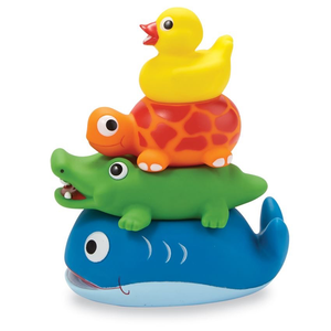 STACKABLE ANIMAL RUBBER BATH TOY SET