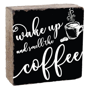 SQUARE RUSTIC BLOCK -SMELL THE COFFEE