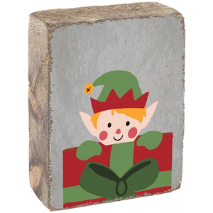 Rustic Block- Peeking Elf