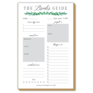 WEDDING GREENERY BRIDE'S GUIDE LARGE LUXE NOTE PAD