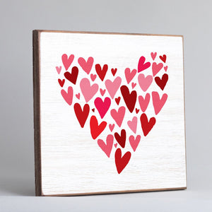 Vintage Square - Red & Pink Heart Mosaic