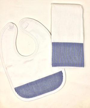 Personalized  Seersucker Bib and Burp Cloth Set