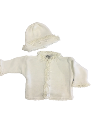 White Cardigan & Hat Set w/Pearl Satin Flowers - 6M