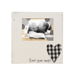 Love You More Plaid Heart Frame