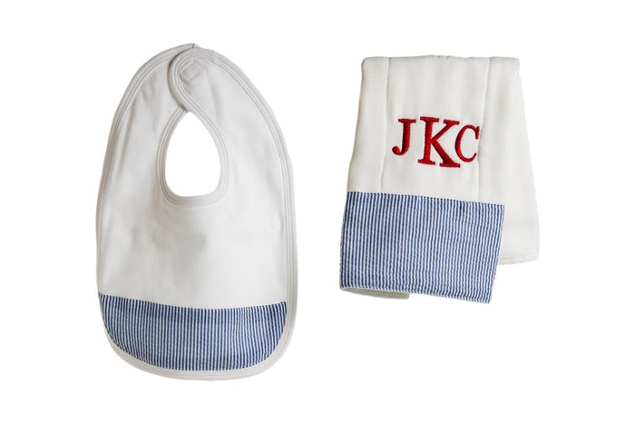 Personalized Bib and Burp Cloth Set - Navy