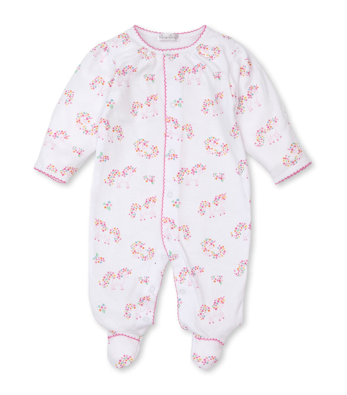 Unicorn Gardens Printed Zip-Front Footie