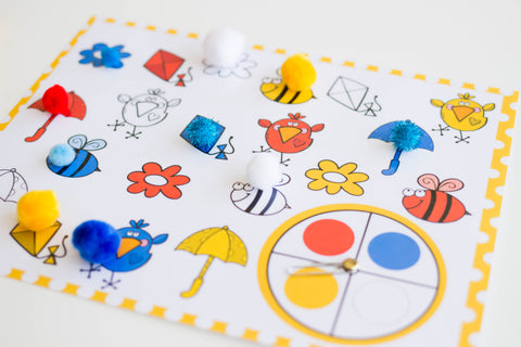 color matching spinner game for spring color activities