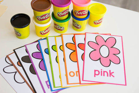 Spring themed play dough mats for spring color activities