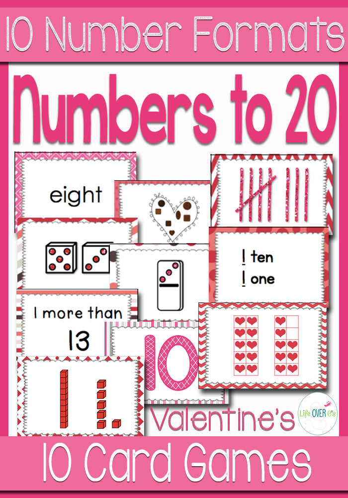 These 10 Card games for numbers 0-20 are such a fun way to review numbers!! I can think of so many ways (beyond the 10 games included) to use these cards!! Love the Valentine's Day theme!