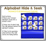 Alphabet Hide & Seek Pocket Chart Cards | Monkey & Banana Theme
