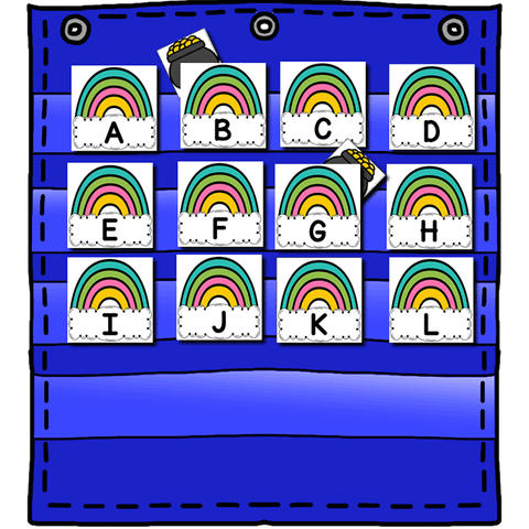 Alphabet Hide & Seek Pocket Chart Cards | Rainbow Theme