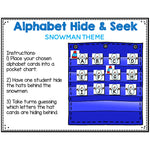 Alphabet Hide & Seek Pocket Chart Cards | Snowman Theme