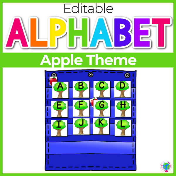 Alphabet Hide & Seek Pocket Chart Cards | Apple Tree Theme