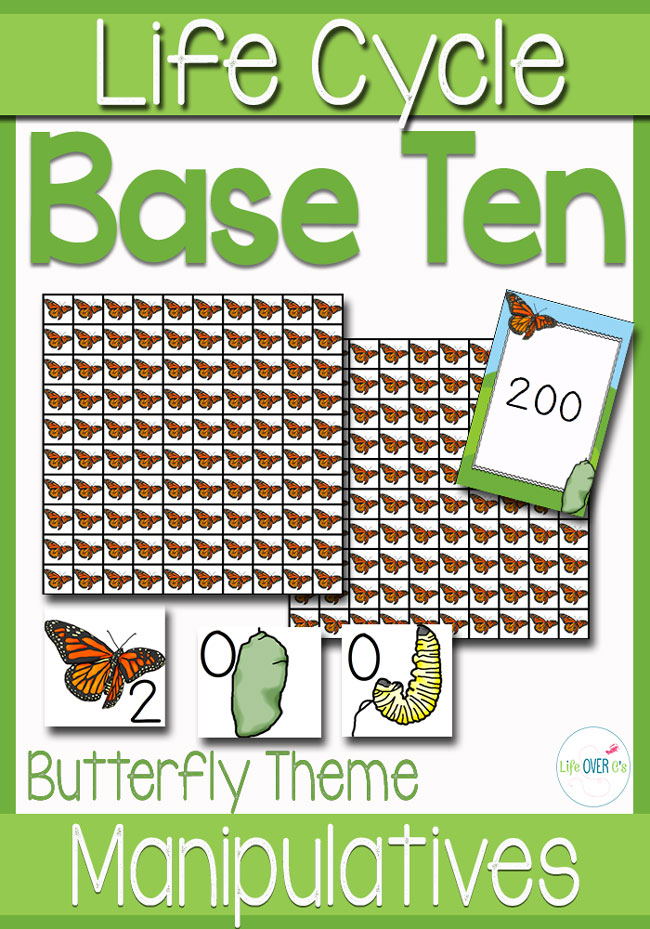 Base Ten Manipulatives Butterfly Life Cycle