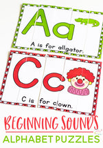 Kids will love learning their beginning sounds with these adorable low-prep printable alphabet puzzles. Perfect for preschoolers or beginning kindergarteners. Each beginning sound puzzle features an uppercase and lowercase letter.