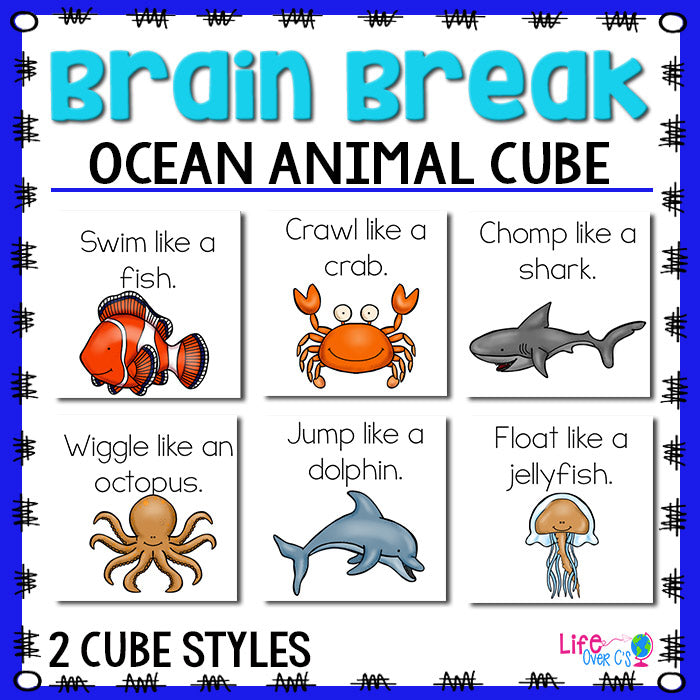 Brain Break Cube | Ocean Animal Theme