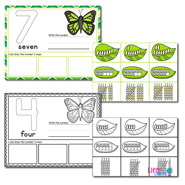 1-20 Butterfly Number Recognition Mats | Ten-frames, Array, Tally Marks