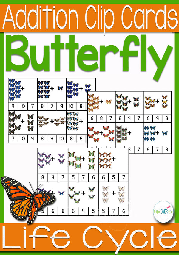 Butterfly Addition Clip Cards