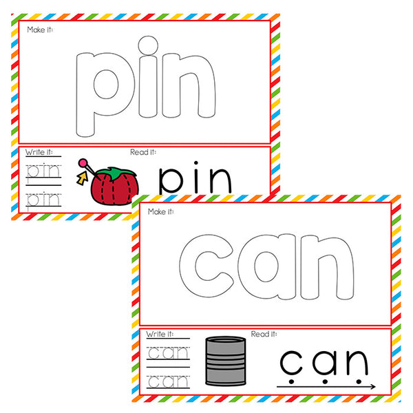 CVC Word Mats with basic outlines for multi-purpose short vowel activities