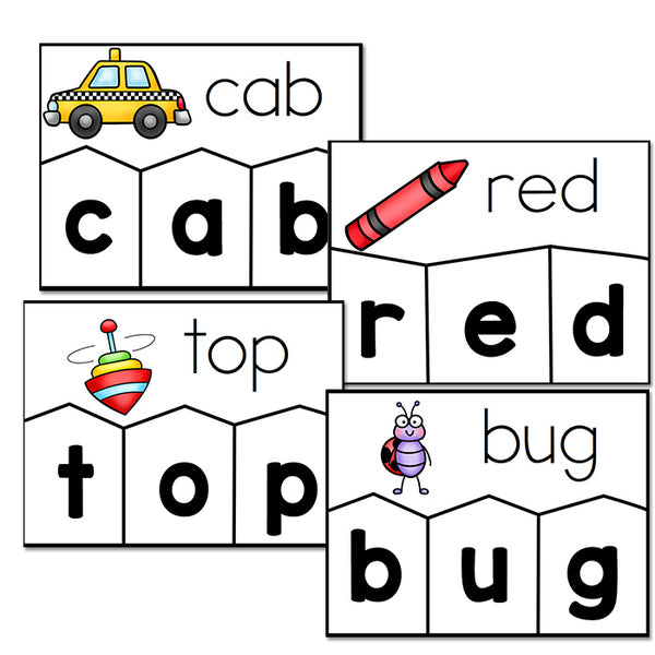 120+ CVC Word Puzzles to help your kindergarteners learn how to create CVC words. 2 levels included for easy differentiation. Perfect for your literacy center! #literacycenter #kindergarten #cvcwords