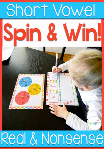 Give students practice creating real and nonsense CVC words in this fun partner or small group game. Students will compose CVC words by spinning beginning, middle and end letters. They will learn what words are real and what words are nonsense through play.