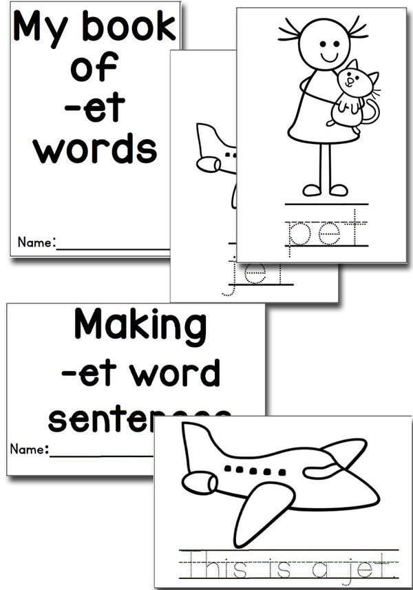 There are so many et word family activities included in this pack! Puzzles, memory, tracing cards, dice games and more! The perfect set for learning the et word family.