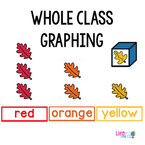 Fall themed graphing activities for color recognition. Great for preschool math centers.