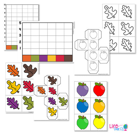 Fall graphing activities for kindergarten to build color recognition.