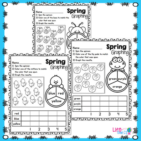 Spring color graphing activities for kindergarten. Whole class graphing activities and independent centers
