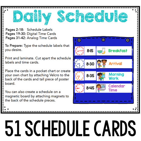 Editable Schedule Cards with Time Cards for Daily Schedules
