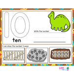 1-20 Dinosaur Number Recognition Mats | Ten-frames, Array, Tally Marks
