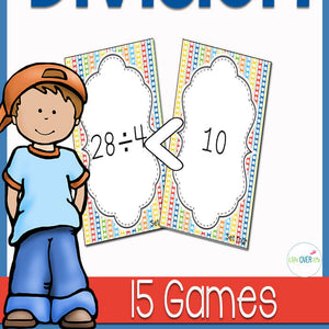 "Lots of opportunities to build fluency with the 15 unique division ""war"" card games to use in you math centers. Partners will work together to learn basic division facts while playing a fast-paced, engaging game of inequalities."