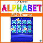 Alphabet Hide & Seek Pocket Chart Cards | Fish & Fishbowl Theme