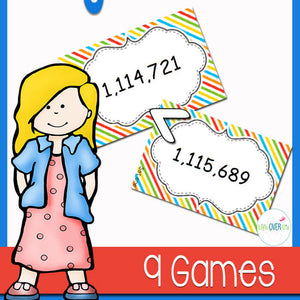 "This large number place value ""War"" card game will have your students comparing numbers to the millions and thousands place values with an exciting card game that is great for a partner math center."