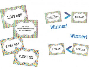 Large Number Place Value War Card Game