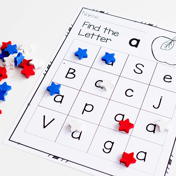 Use mini erasers with these free printable alphabet grids for letter recognition.