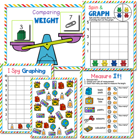 Comparing weight printable, spin and graph activity and measurement activities.