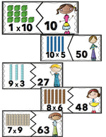 These colorful puzzles will make leaning multiplication facts fun! Multiplication facts are shown with arrays & numbers so that the kids can get a better understanding of what multiplication is.
