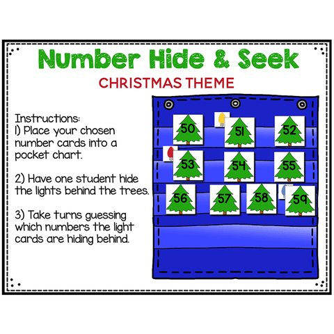 Numbers 0-120 Hide & Seek Pocket Chart Cards | Christmas Tree Theme
