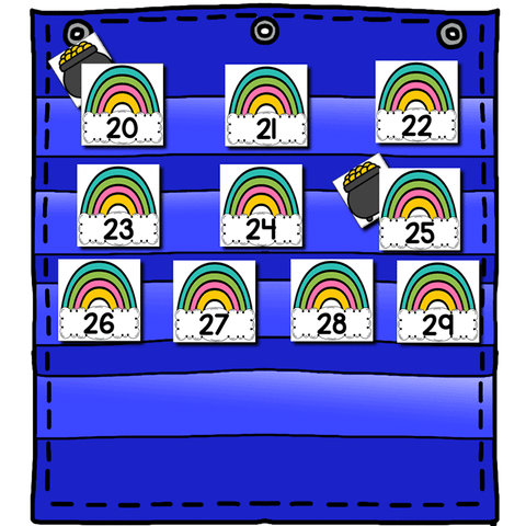 Numbers 0-120 Hide & Seek Pocket Chart Cards | Rainbow Theme