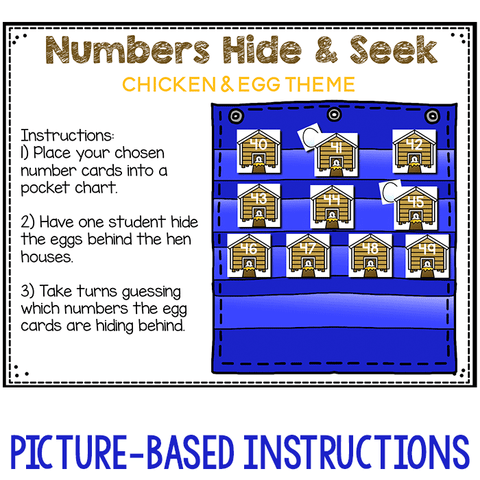 Numbers 0-120 Hide & Seek Pocket Chart Cards | Chicken Theme